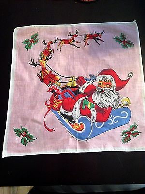 VINTAGE CHRISTMAS SANTA CHILD'S CHILDREN'S HANKIE HANDKERCHIEF