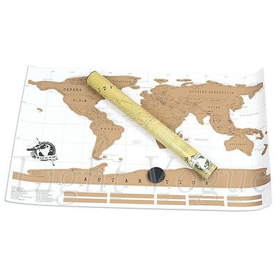 New Personalized Scratch Off Map World Map Poster Traveler Vacation Log Gift 001