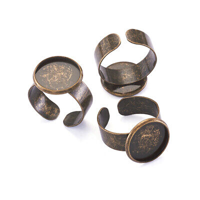 10pcs Antique Bronze Ring Shank Adjustable Pad Bases Jewelry Diy Finding Making