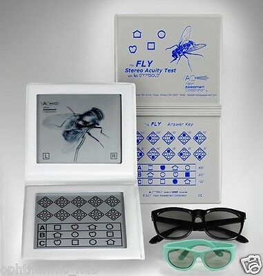 Stereopsis Fly Acuity Test with Adult Pediatric Goggles Ship from USA