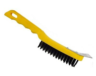 "Wire Brush With Scraper 12"" 4 Row Carbon Steel Bristle ~ Paint / Rust / Cleaning"
