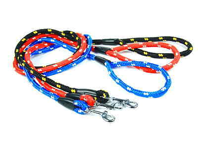 High quality long nylon rope lead for large strong dog black red blue handmade