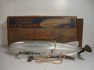 Strauss Flying Airship Zepplin Wind Up Tin Toy Lehmann Marx XLNT With ORIG BOX