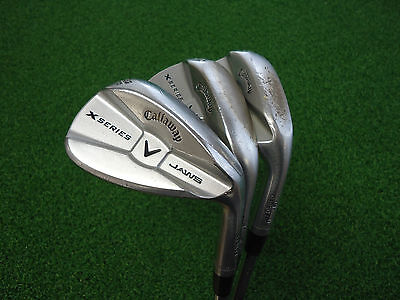 USED CALLAWAY X SERIES JAWS CC BRUSHED CHROME WEDGE SET 52 56 60 WEDGES