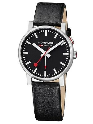 Mondaine Basics A468.30352.14SBB Evo Alarm Men's 40mm Black Dial Leather Watch
