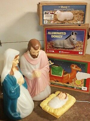 "NICE 28"" Plastic LIGHTED BLOWMOLD NATIVITY SET Outdoor Yard Christmas Religious"