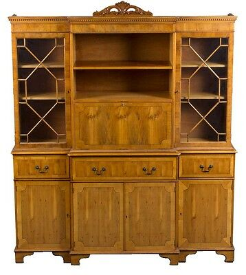 Antique Style Yew Wood Breakfront Bookcase with Cocktail Cabinet Liquor Bar