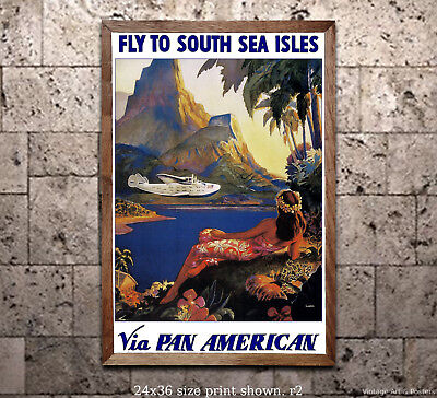 Pan Am Travel Poster Fly to South Sea Isles [6 sizes matte+glossy avail]