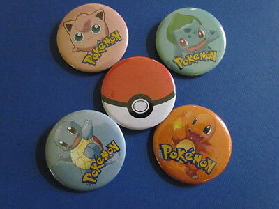 5 Piece Pokemon Mixed Button Collection. Brand New. 2.25 Inches
