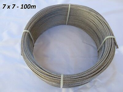 100m G316 Stainless Steel Wire Rope 3.2mm Balustrade Marine 7 x 7