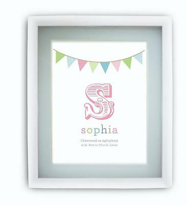 Personalised Childrens Initial Name Print Picture LARGE READY TO FRAME