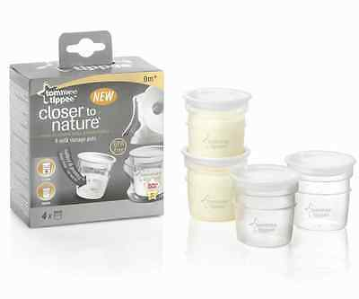 Tommee Tippee Closer To Nature Milk Storage Pots Containers x4 Baby Feeding BNIB