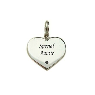 Special Auntie Charm, Sterling Silver, Heart Charm, Optional Engraving on Back.