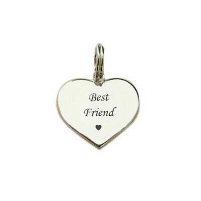 Best Friend Charm, 925 Sterling Silver, Heart Charm, Optional Engraving on Back.
