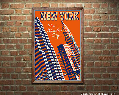 New York Wonder City Vintage Travel Poster [6 sizes, matte+glossy avail]