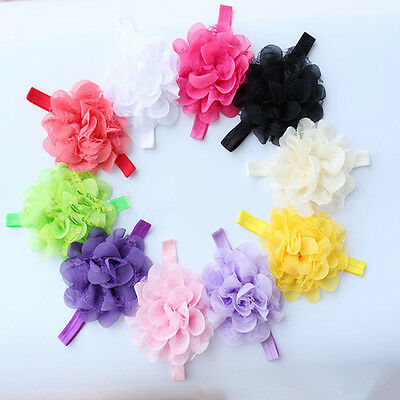 10pcs Lovely Girl Baby Toddler Infant Flower Headband Hair Bow Band Accessories