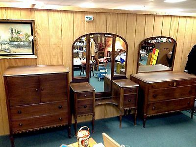 Antique Bedroom Set Antique Mahogany Vanity, Armoire, Dresser, Mirror