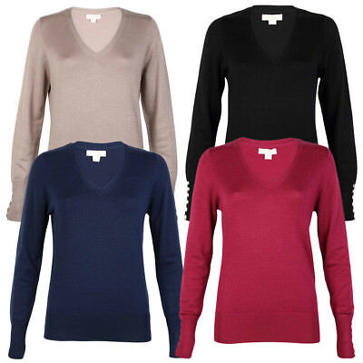 New Womens Plum Tree Ladies V Neck Long Sleeve Knit Jumper Top Size 8-16