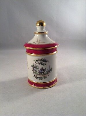 Limoges Lidded Pot With Gold And Red Gilt Trim