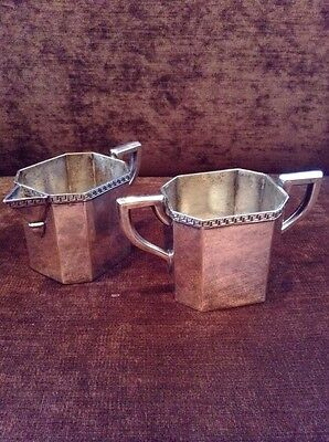 Vintage Quadruple SilverPlate Creamer And Sugar Set With Neoclassical Design