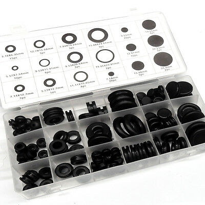 125 PC Rubber Grommets Assortment Black O Ring Sealing Kit, Car Truck Boat 4WD