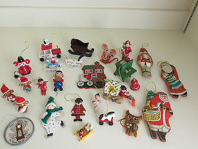 Vintage Lot of 26 Christmas Ornaments & Decorations Wood Satin Glass Plastic
