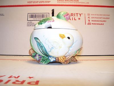Fitz and Floyd Garden Rhapsody Duckling Sugar Bowl Container for Spring Easter