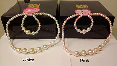 Beautiful Pearl Necklace and Bracelet for Girl Children Wedding Jewelry Set