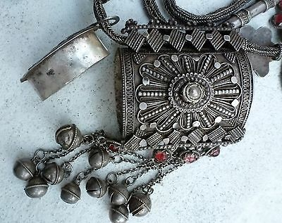 (B)  Antique HUGE Silver HORSE Necklace Wedding Bedouin Yemen Prayer Box Amulet
