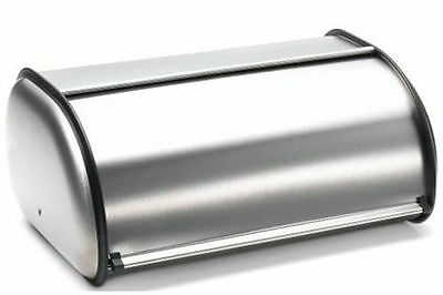 2 Loaf Size Brushed Stainless Steel Rolltop Kitchen Bread Box Bin Storage Large