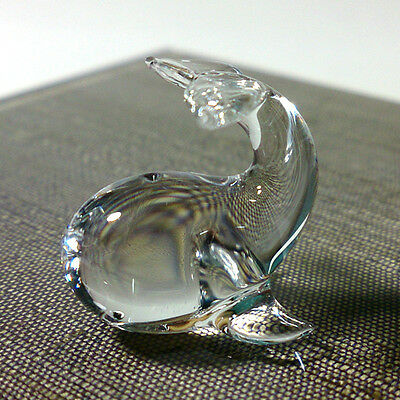 Tiny Crystal Whale Hand Blown Clear Glass Art Figurine Miniature Collectible
