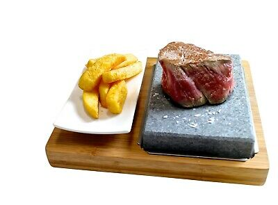 Hot Stone Cooking Steak Dinner Black Rock Grill Lava Sizzling Plate HO-09