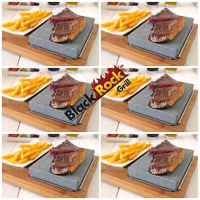 Hot Cooking Stone Steak Set 6 Black Rock Grill Lava Griddle Steakstone HO-09 X 6