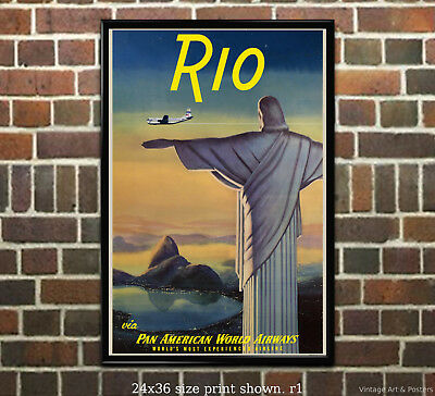 Pan Am Rio #3 - Vintage Airline Travel Poster [6 sizes, matte+glossy avail]