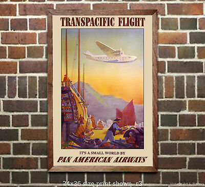 Pan Am Transpacific Flight Airline Travel Poster [6 sizes, matte+glossy avail]