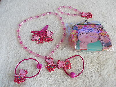 PEPPA PIG NECKLACE, HAIR CLIPS SET AND PEPPA PIG PURSE Authentic merchandise NEW