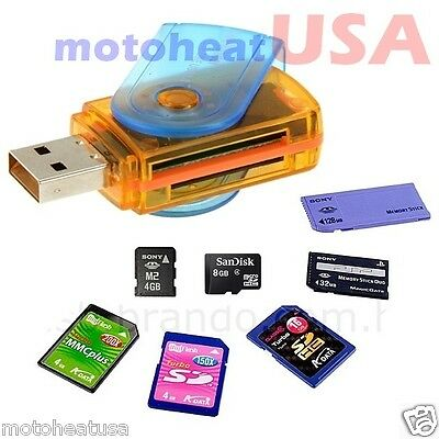 USB 2.0 Multi All in One Memory Card Reader Micro SD/MMC/SDHC/TF/M2 Flash Drive