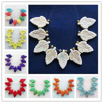 9Pcs Beautiful Carved Man-made Mixed Turquoise  Leaf  Pendant Bead Set U53