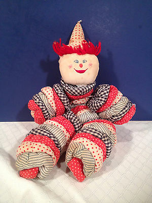 """Vintage Yo Yo Doll Clown Quilt Fabric Embroidered Handcrafted 20"""""""