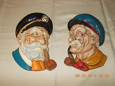 Pair Of Ceramic Bisque Hand Painted Old Sailor Head Wall Plaques