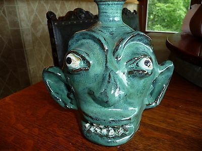 """Great southern potter, Incredible GREEN Face Jug by Marvin Bailey - 7 3/4"""""""