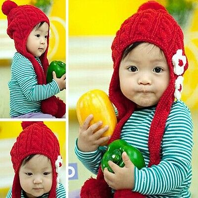 Baby Winter Warm Hats Children Girl s Cap Earflaps Thickening Crochet  Knitted 02279aab7f78