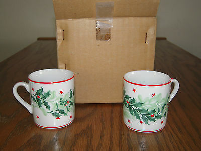 Demitasse Set of Four Cups/Saucers Made for Neiman-Marcus, Holly and Stars Japan
