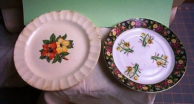 Vtg Daffodil Floral Flowers PLATES Cronin China Co FALL Colors Minerva Ohio