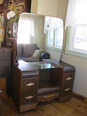 Art Deco Vanity  with Mirror Glass Shelf - #106