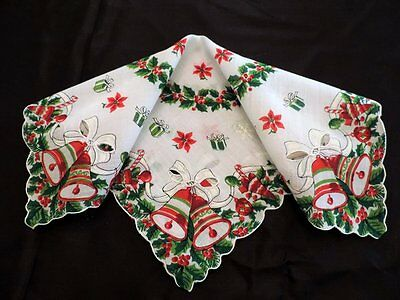 Vintage Christmas Hanky Bright Green Reds Cutout Bells Presents Holly Garland