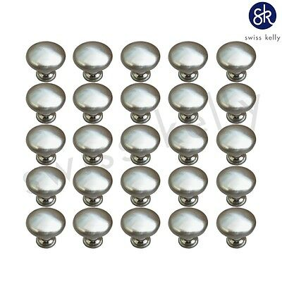 25 PREMIUM DESIGNER SATIN NICKEL MUSHROOM KITCHEN CABINET DRAWER KNOBS HARDWARE