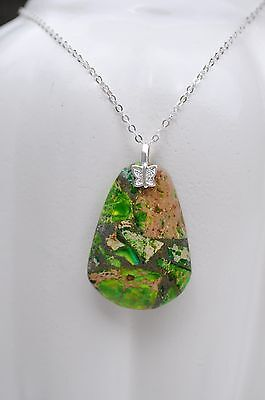 Green Copper Turquoise Gemstone Butterfly Sterling Silver Necklace 925 USA Made
