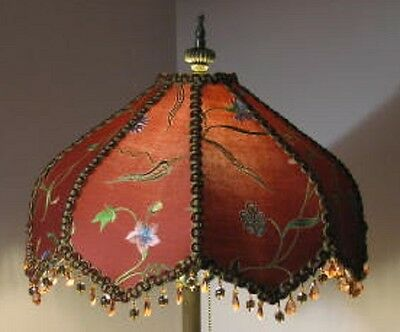Victorian Style Red Embroidered Silk Fabric Hand Made Lampshade,
