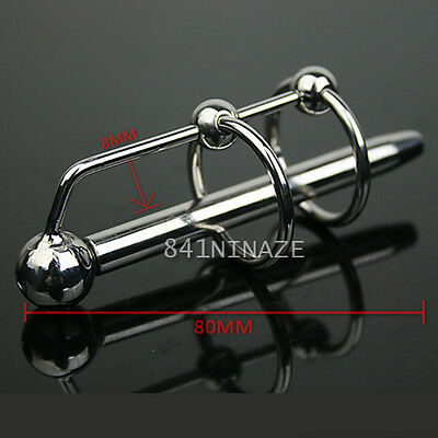 Stainless Steel Through-hole Male Urethral Sounds Urethra Dilator Plug FREE SHIP